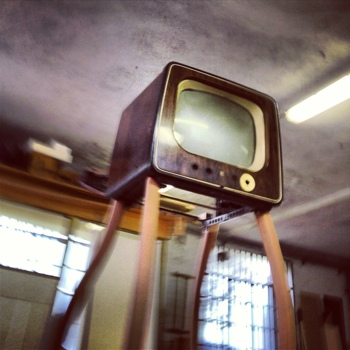 contemporary art sculpture with television